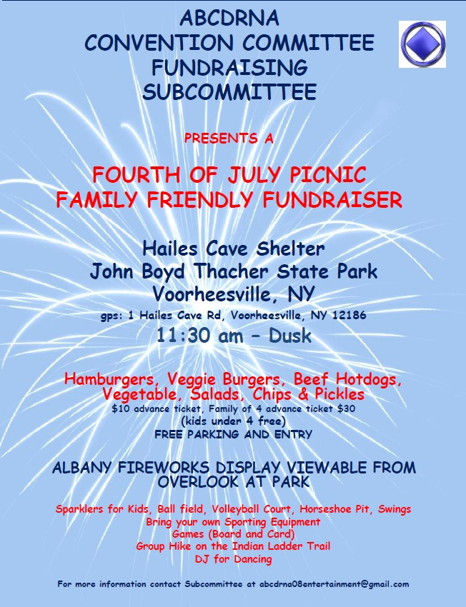 4th of July Picnic - ABCDRNA Convention Committee Fundraising Subcommittee @ Hailes Cave Shelter | Voorheesville | New York | United States