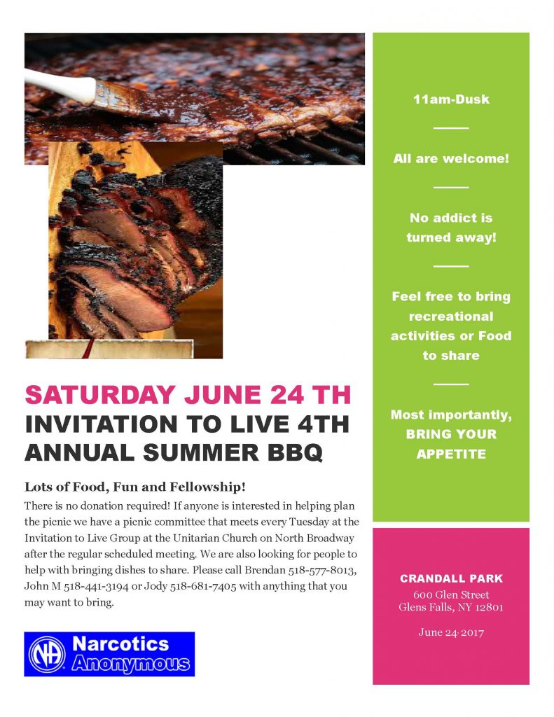 Invitation to Live 4th Annual SummerBBQ @ Crandall Park | Glens Falls | New York | United States