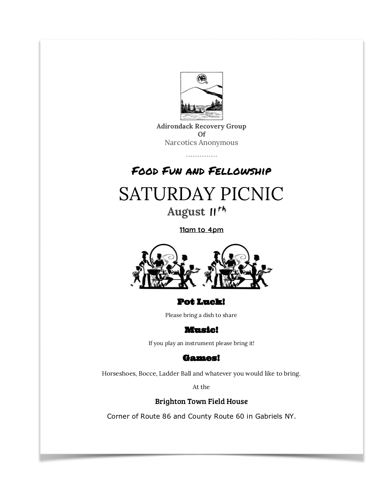 ARGNA Saturday Picnic @ Brighton Town Field House   Gabriels   New York   United States