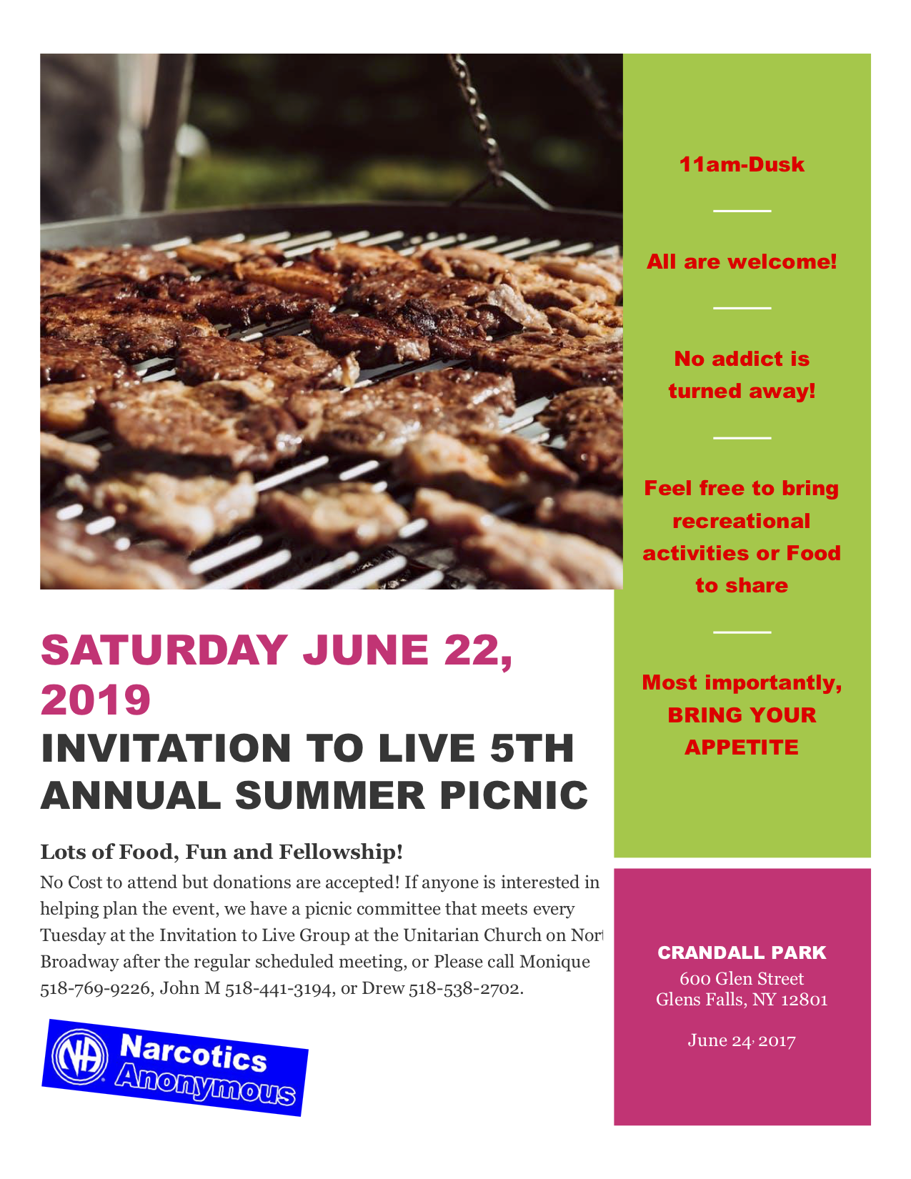 Live 5th Annual Summer Picnic @ Crandall Park | Glens Falls | New York | United States