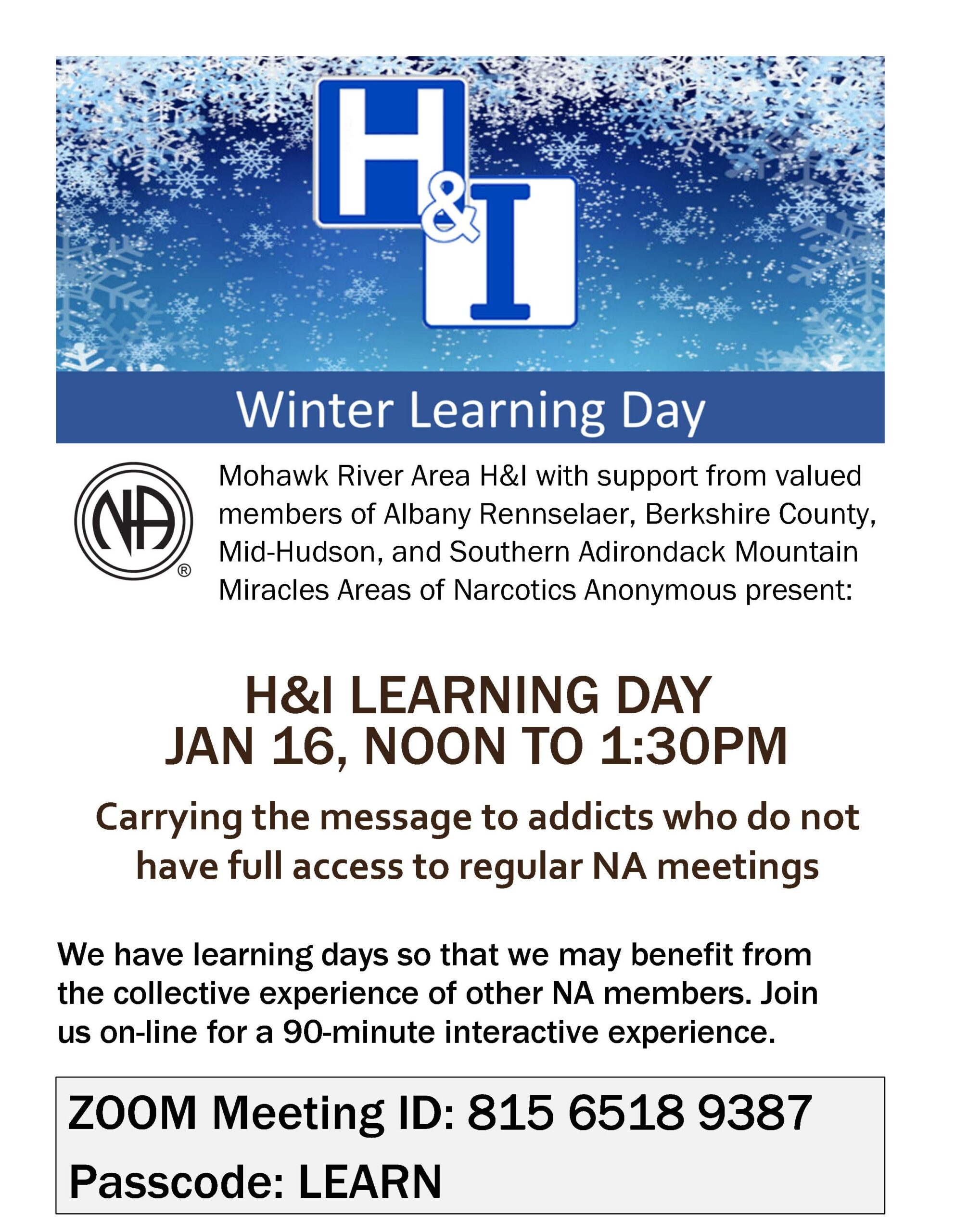 H&I Winter Learning Day @ Zoom